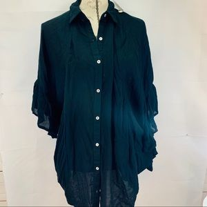 🦩NWT Free People🦩 Oversized Top Black SM XS